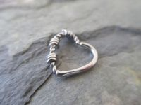 Barbed Wire Silver Heart Daith or Cartilage Ear Piercing ...