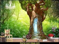 Enchanted Tree Door Wall Decal fairy forest woodland