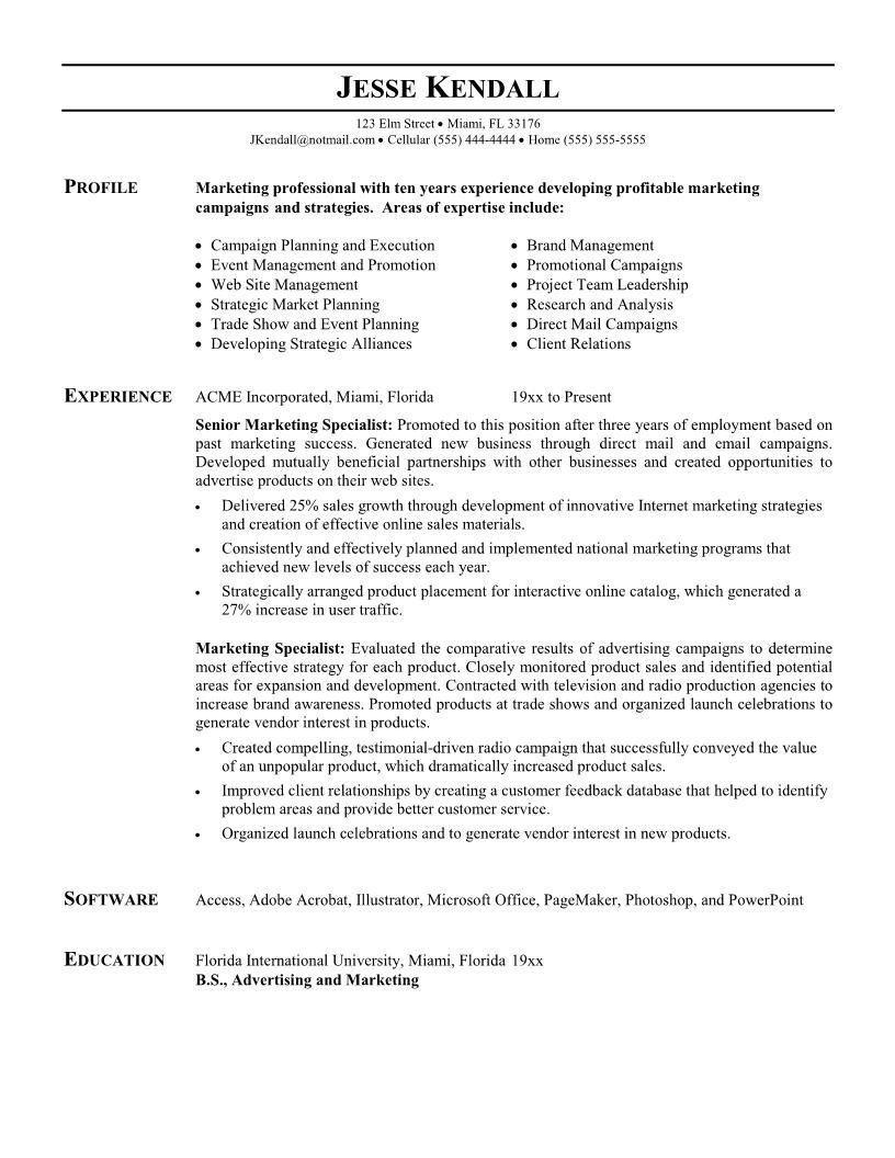Resume For Marketing Job Tech Resume Example