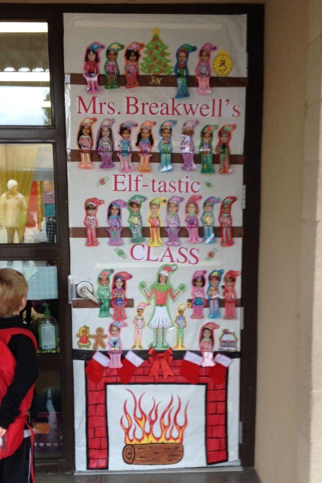 Classroom Elf on the shelf door decor.