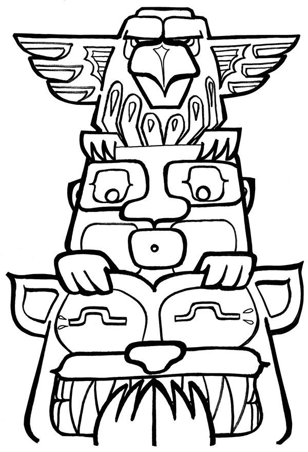 totem pole coloring pages to print  crafts  pinterest