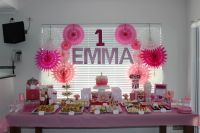Pink 1st Birthday party table setup | Kids Party - Pink ...