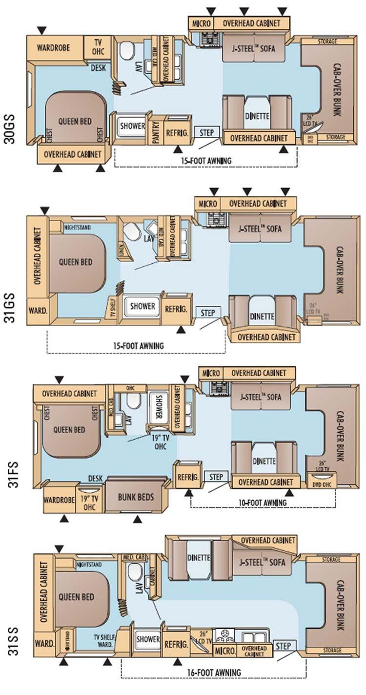 Jayco Greyhawk class C motorhome floorplans  large