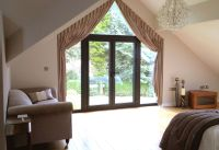 Apex angled window with goblet pleat curtains italian ...