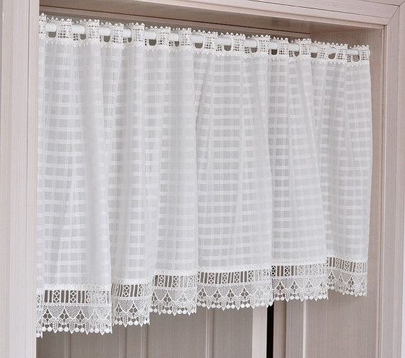 "White Check Plaid Lace Cafe Curtain 55"" Wide Or 78""Wide Choose"