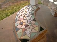 cement bench with mosaic tiles, tabletop | Mosaic me crazy ...