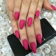 full set matte dark pink nails