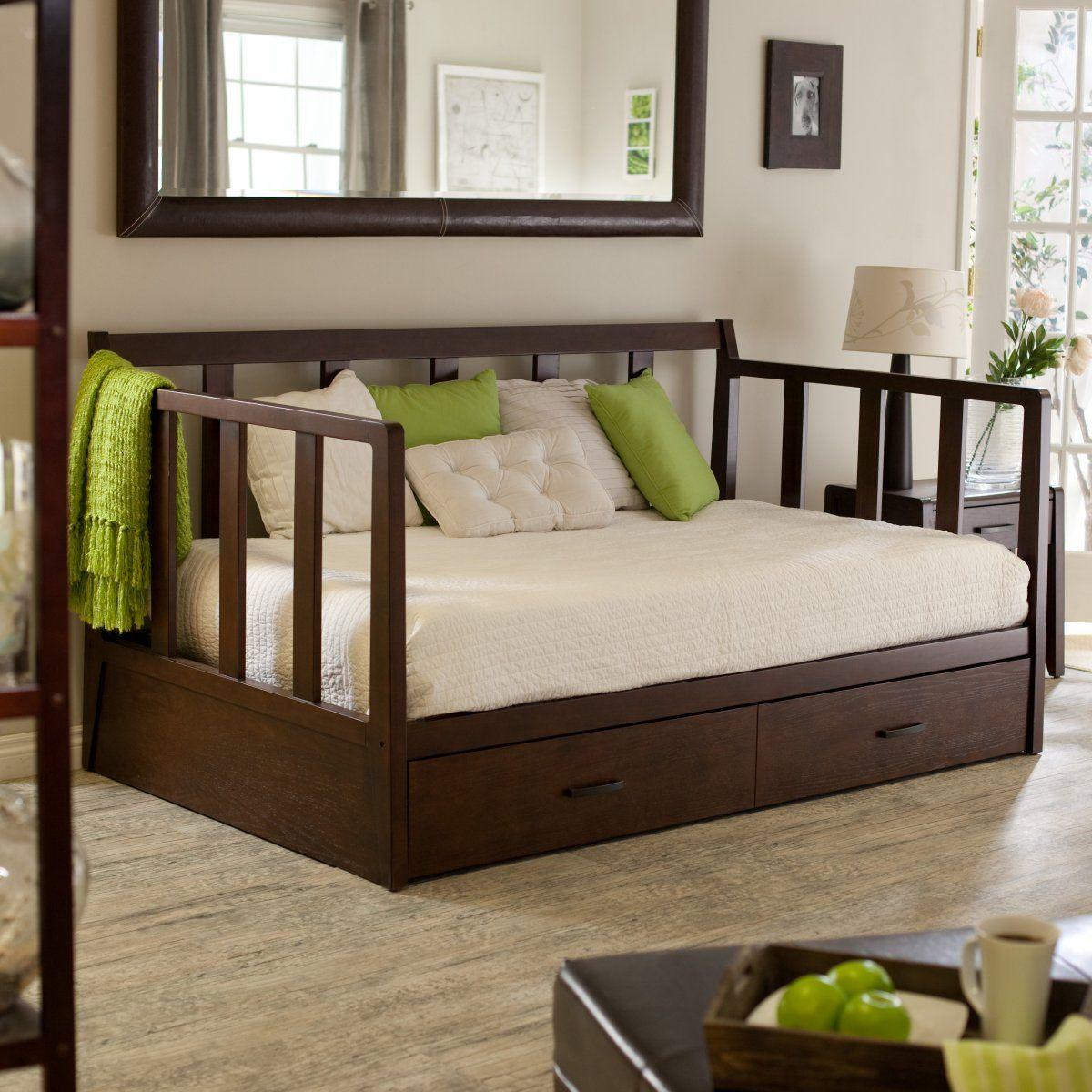Rustic Daybed with Trundle Wooden Material Ergonomic