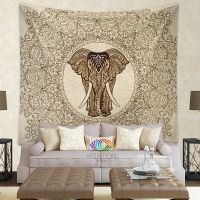 Elephant Tapestry, Elephant tapestry wall hanging, Lace ...
