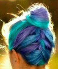 Braid, tri color braided hair, blue hair, purple hair ...