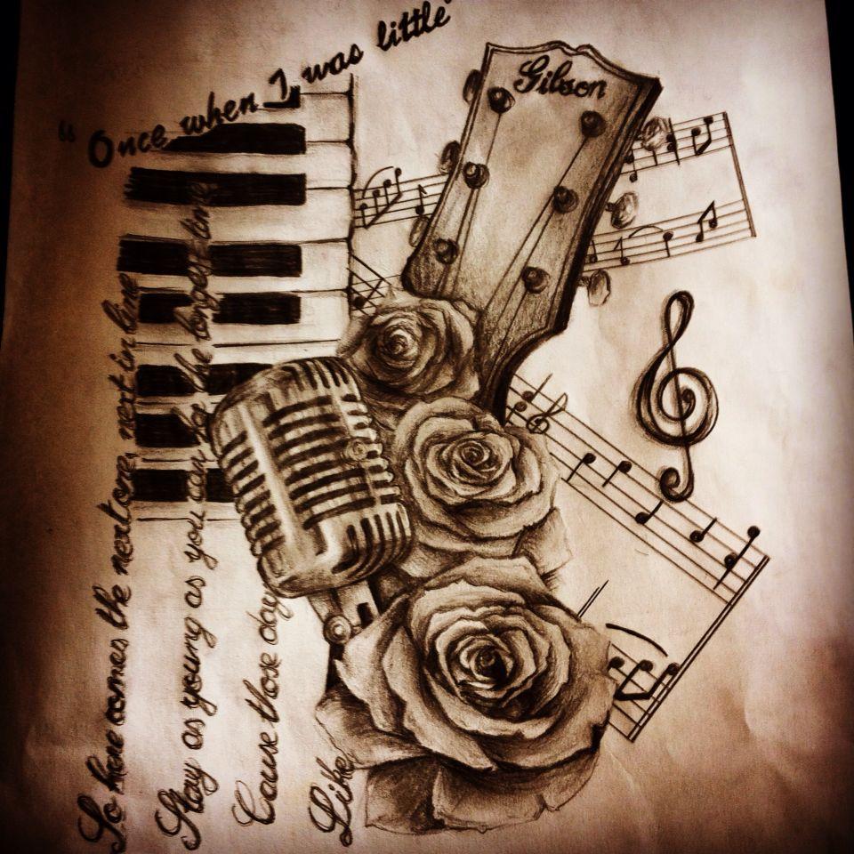Music Tattoo Design Gibson Guitar Microphone Tattoos