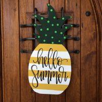 Pineapple door hanger, summer hand painted door hanger ...