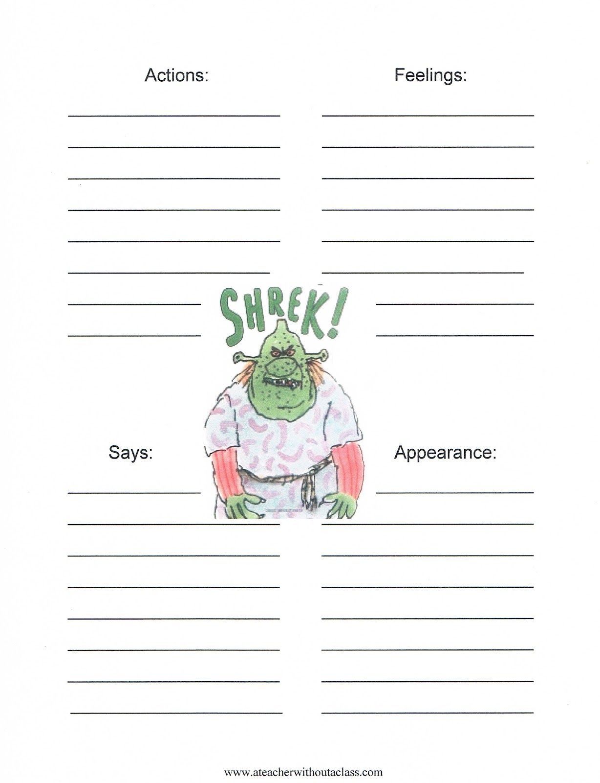 Character Map Of Shrek