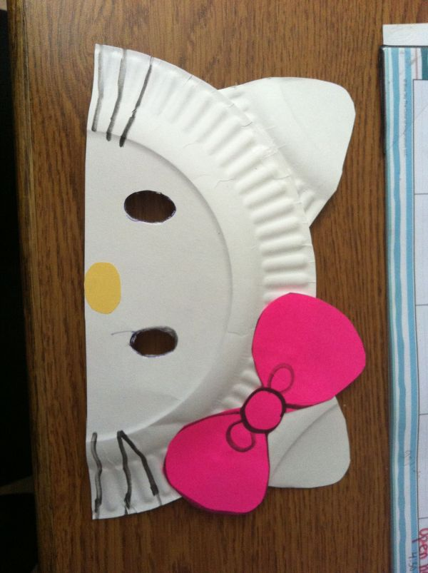 Diy Kitty Paper Plate Masks. Cut In