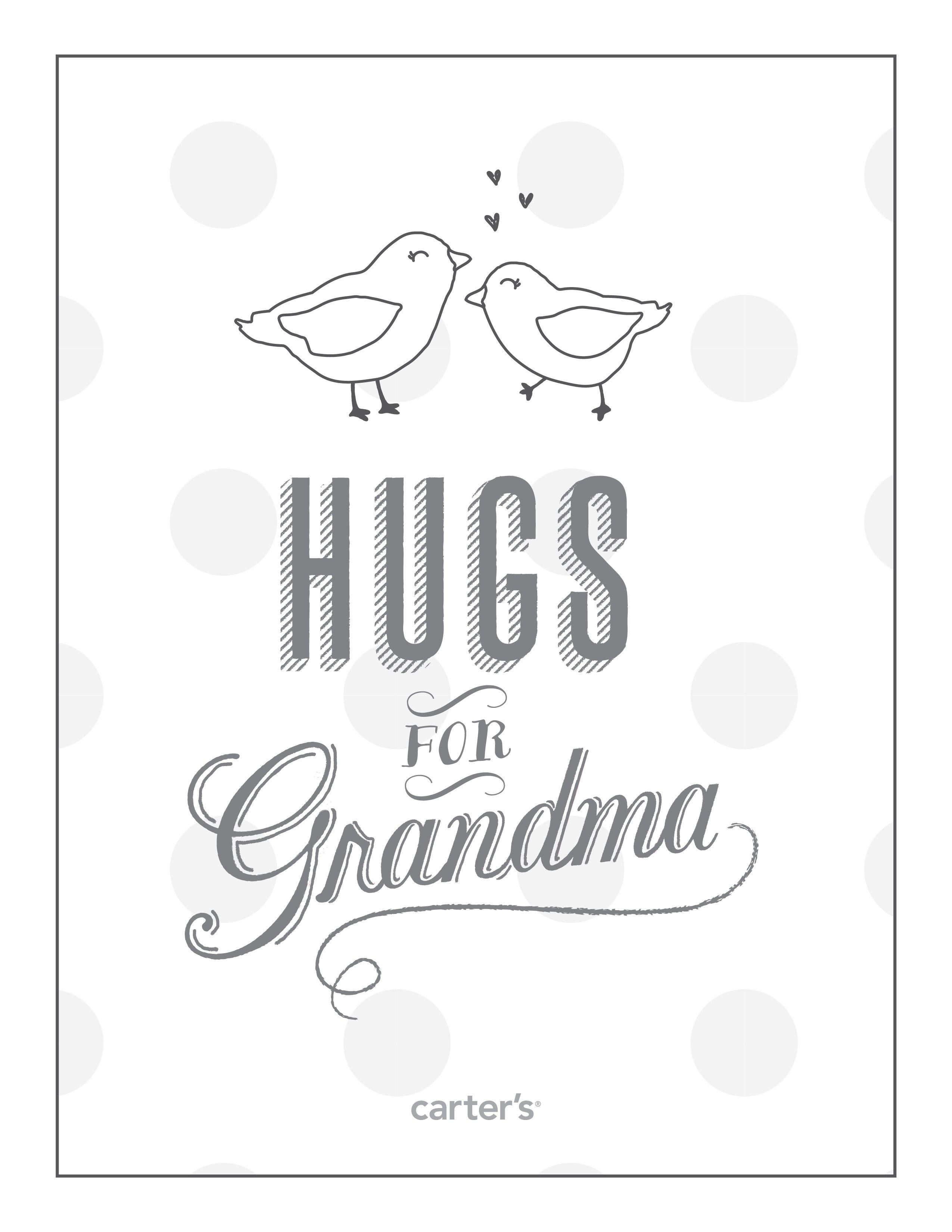 Hugs for Grandma. Download free Grandparent's Day coloring