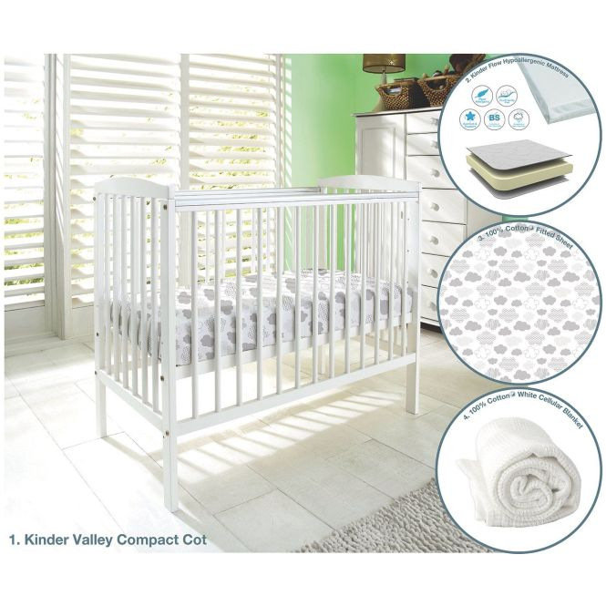 Kinder Valley Kai Compact Cot Bundle With Mattress Sheet And Blanket Cots Mattresses