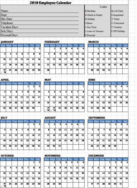 Slp Attendance Calendar