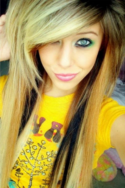 Girls Long Hair Color Emo Girl Hairstyles For Long Hair And