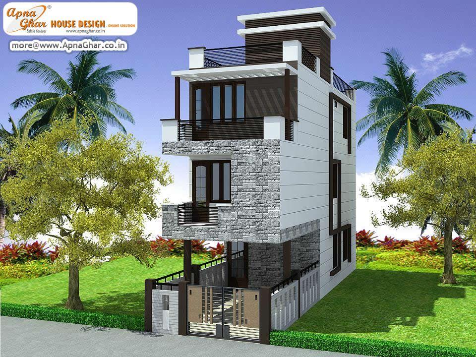 4 Bedroom Modern Triplex 3 Floor House Design Area 108 Sq Mts