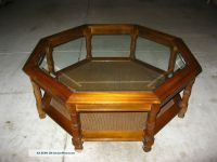 Vintage Danish Modern Octagon Glass Coffee Table Cane Mid ...