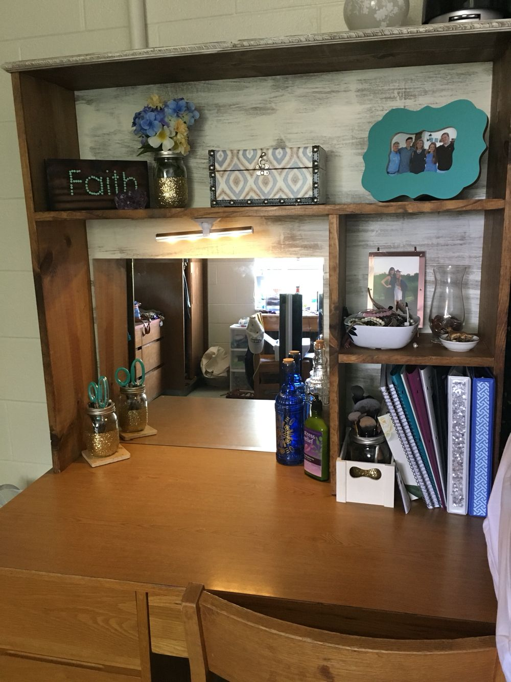 diy college desk hutch desk topper  Dorm Room