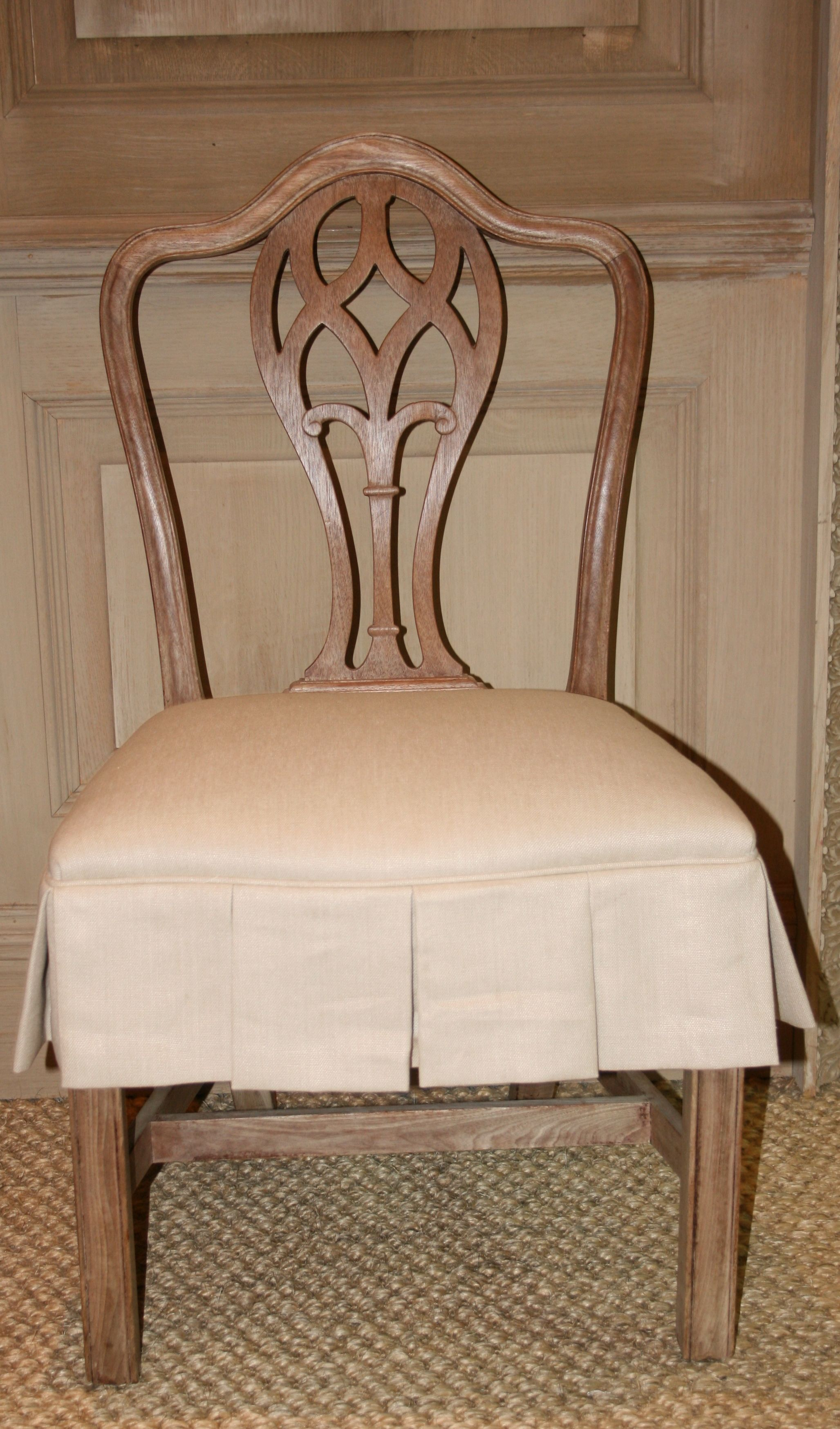 Dining chair with slipcovered seat  Slipcovers