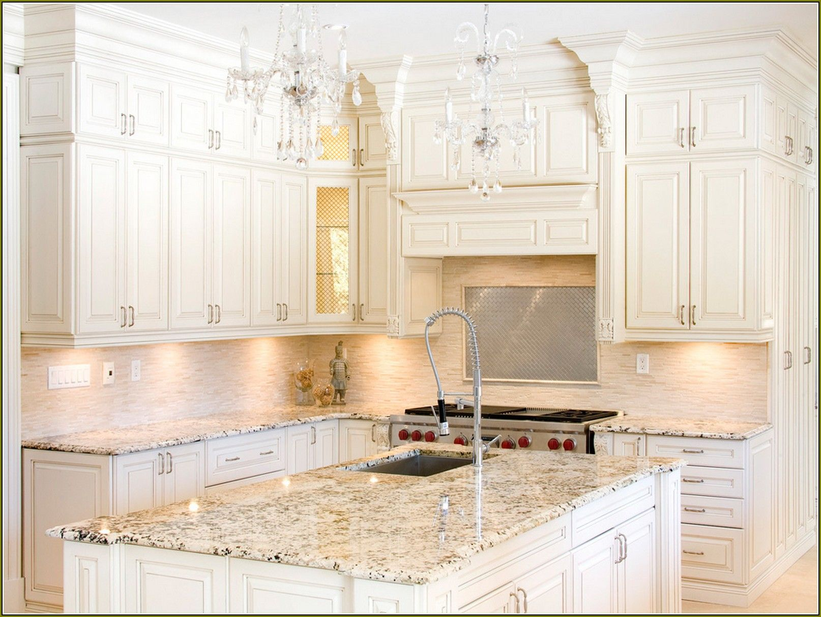 kitchen cabinet granite top lowes floor tile off white cabinets with countertops