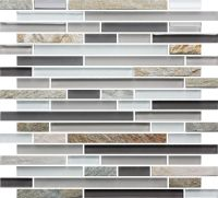 Slate Glass Mosaic Tile Linear White | Glass mosaic tiles ...