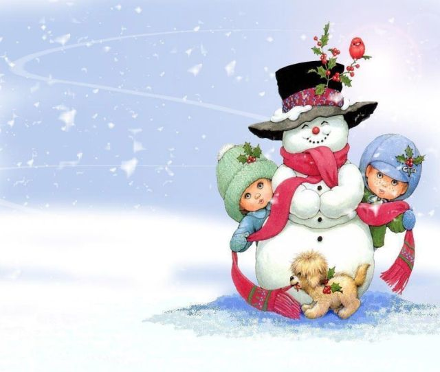 Free Snowman On Christmas Computer Desktop Wallpaper