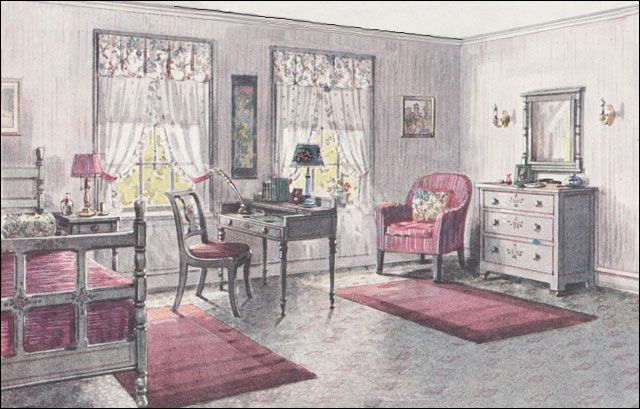 1923 Gray & Pink Bedroom