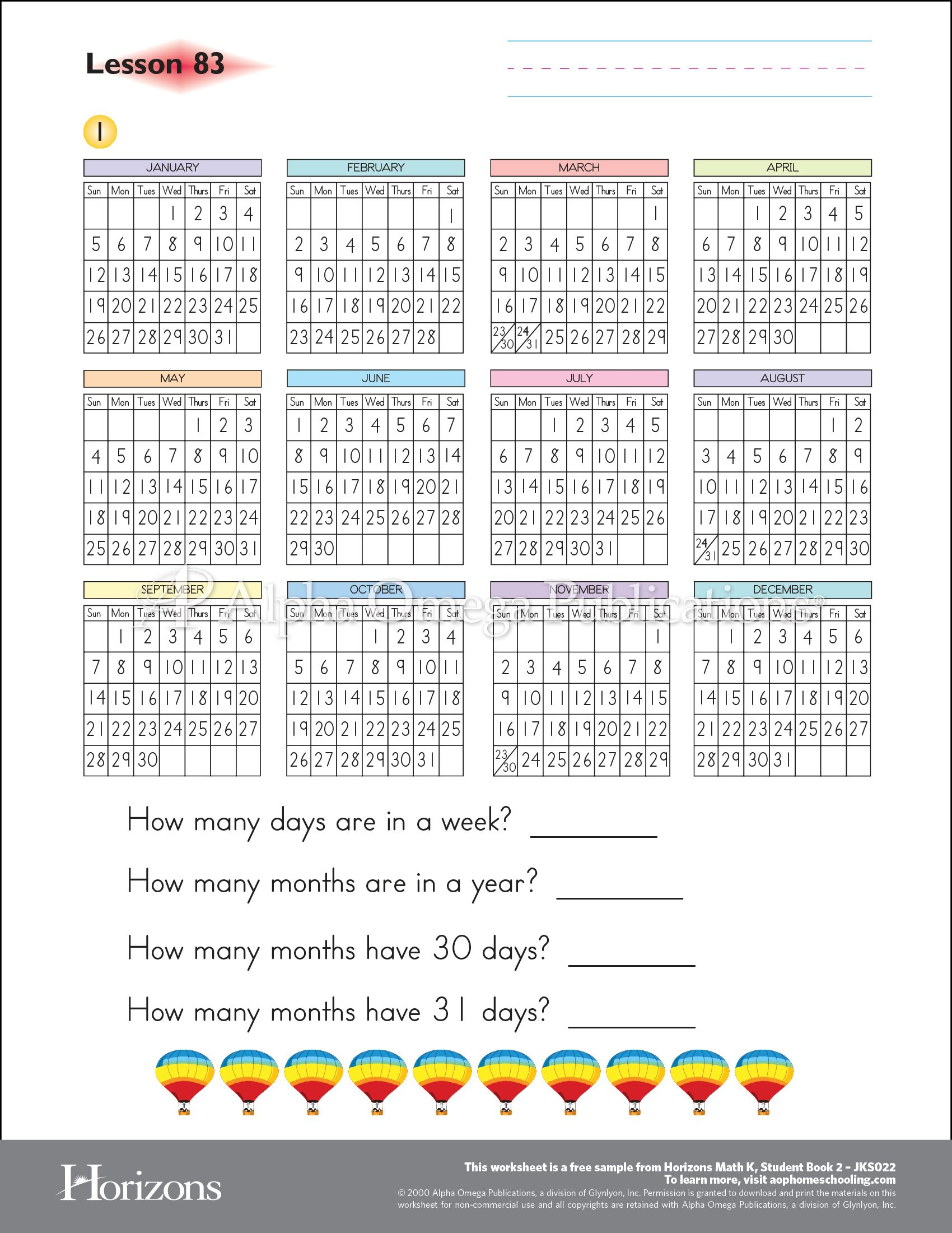 Horizons Kindergarten Math Aop Sample Worksheet Curriculum Download Printable Homeschooling