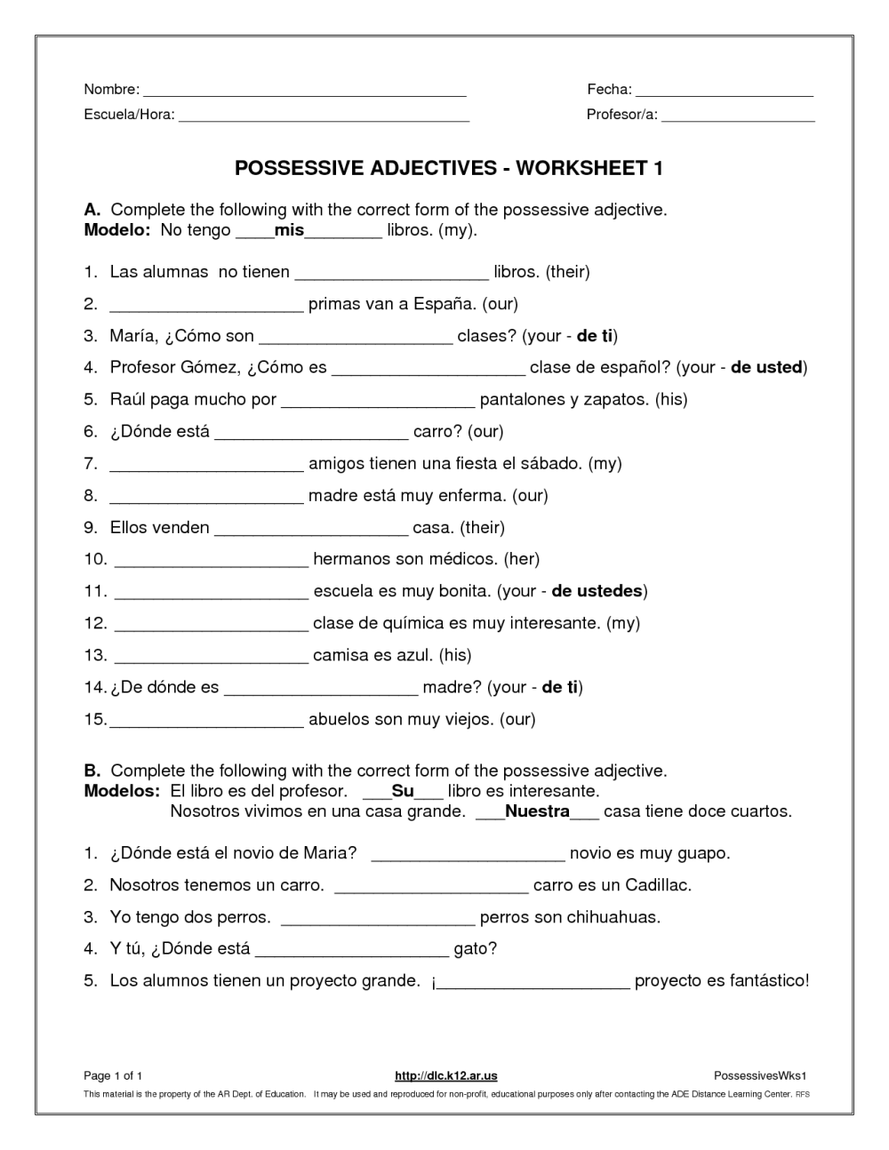 medium resolution of Possessive Pronouns His Her Worksheets   Printable Worksheets and  Activities for Teachers