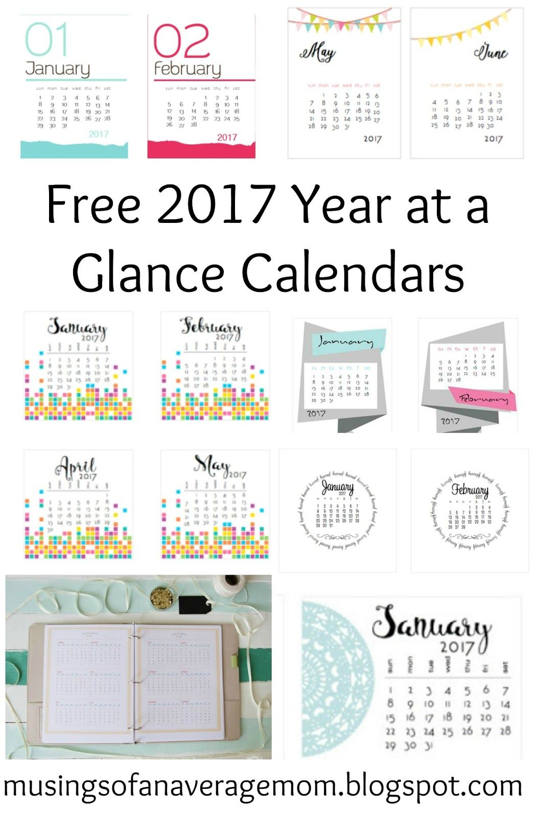 Free Printable Year At A Glance Calendars