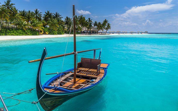 Herunterladen hintergrundbild tropische insel boot malediven strand sommer ferien