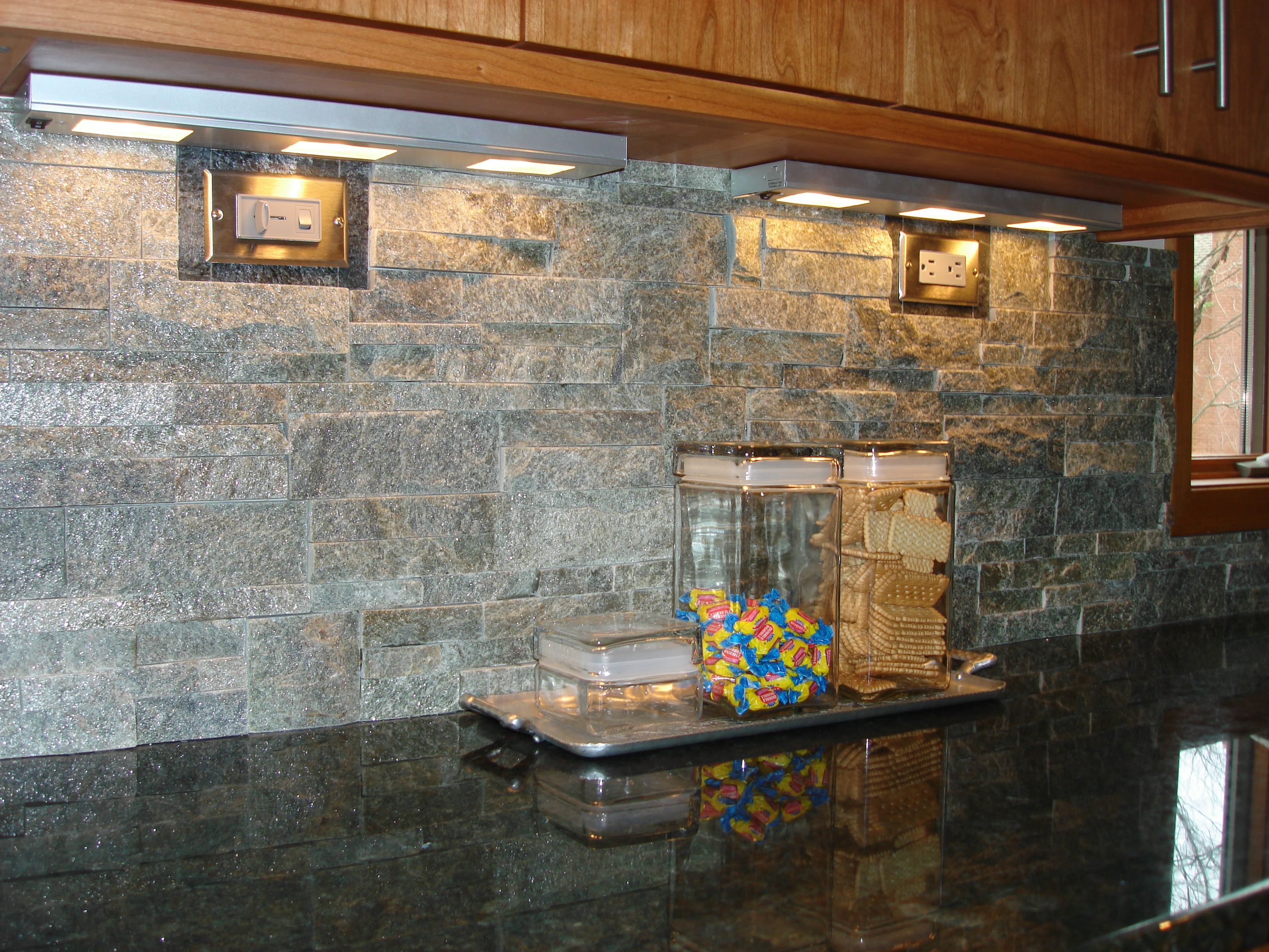 stacked stone kitchen backsplash home depot garbage cans a is nice contrast with granite