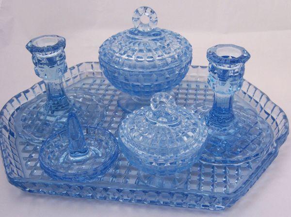 Vintage Art Deco Depression Blue Glass Dressing Table Set