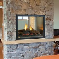 Statuette of Double Sided Gas Fireplace: Warmer, Unique ...