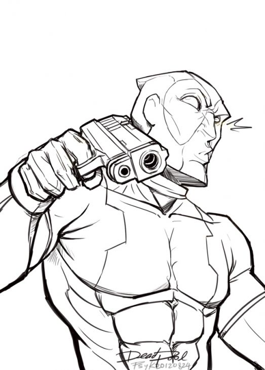 Deadpool Looking Bad With His Gun Loaded Coloring Page