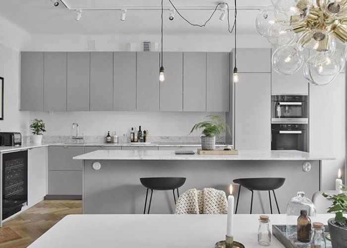 was certain wanted white but now   thinking light grey cabinetry for my next kitchen doesn   it look great with the marble benchtops and black also
