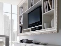Cool White Varnished Wooden Wall Mounted Tv Cabinet Also