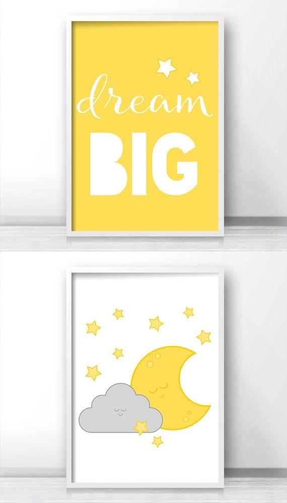 Kid children nursery decor yellow bedroom little girl boy room moon star baby and also rh uk pinterest