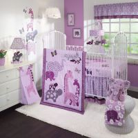 Purple baby girl nursery decorating ideas with jungle ...