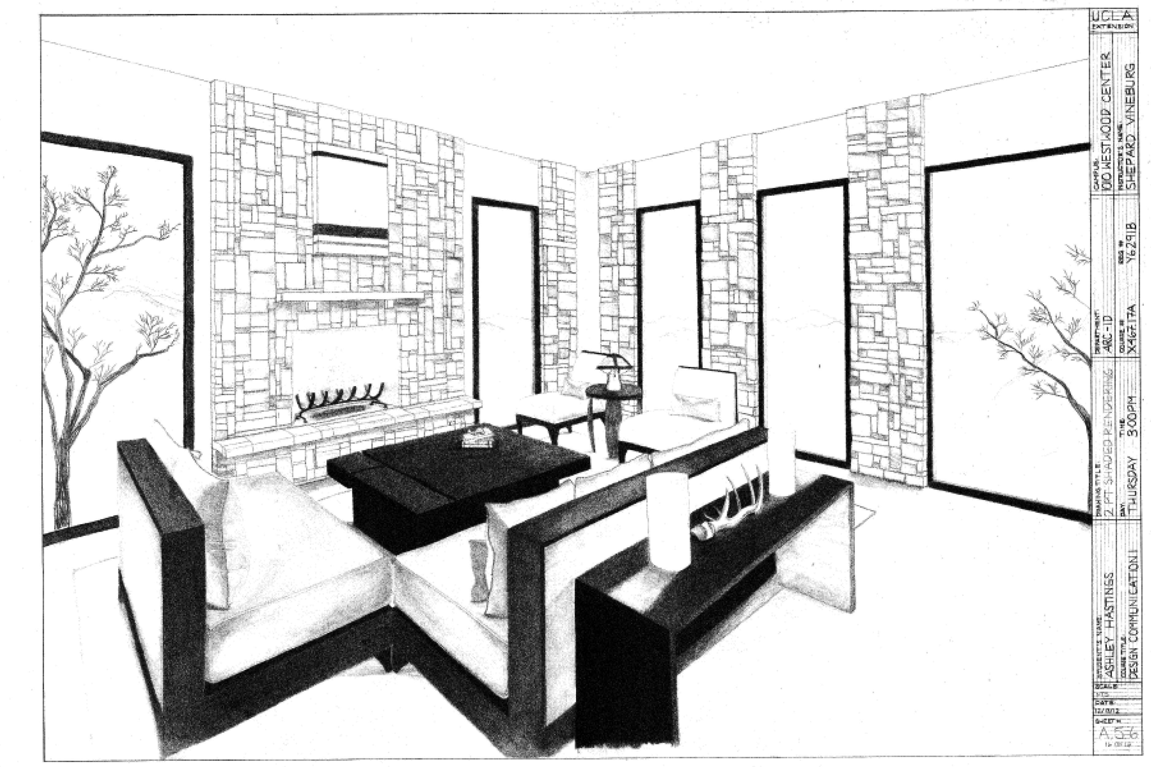 . 2 Point Perspective Drawing Tutorial Interior