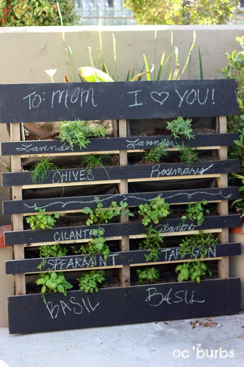 Awesome Pallet Herb Garden W Chalkboard!! The Sun Brings Out