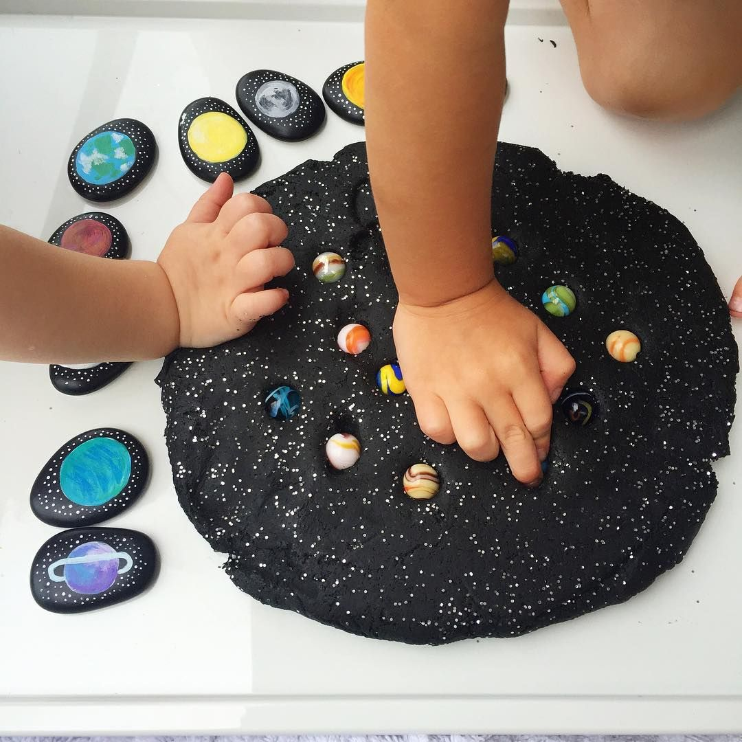 Galaxy Play Dough With Space Themed Story Stones