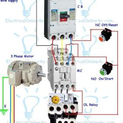 Contactor And Thermal Overload Relay Wiring Diagram Pir Motion Sensor Guide For 3 Phase Motor With Circuit Breaker, Relay, Nc No Switches ...