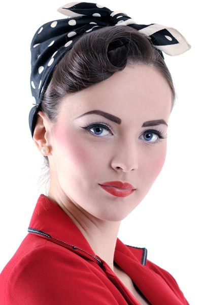 Vintage Bandana Hairstyles Pin Up Girl Rosie The Riveter Or