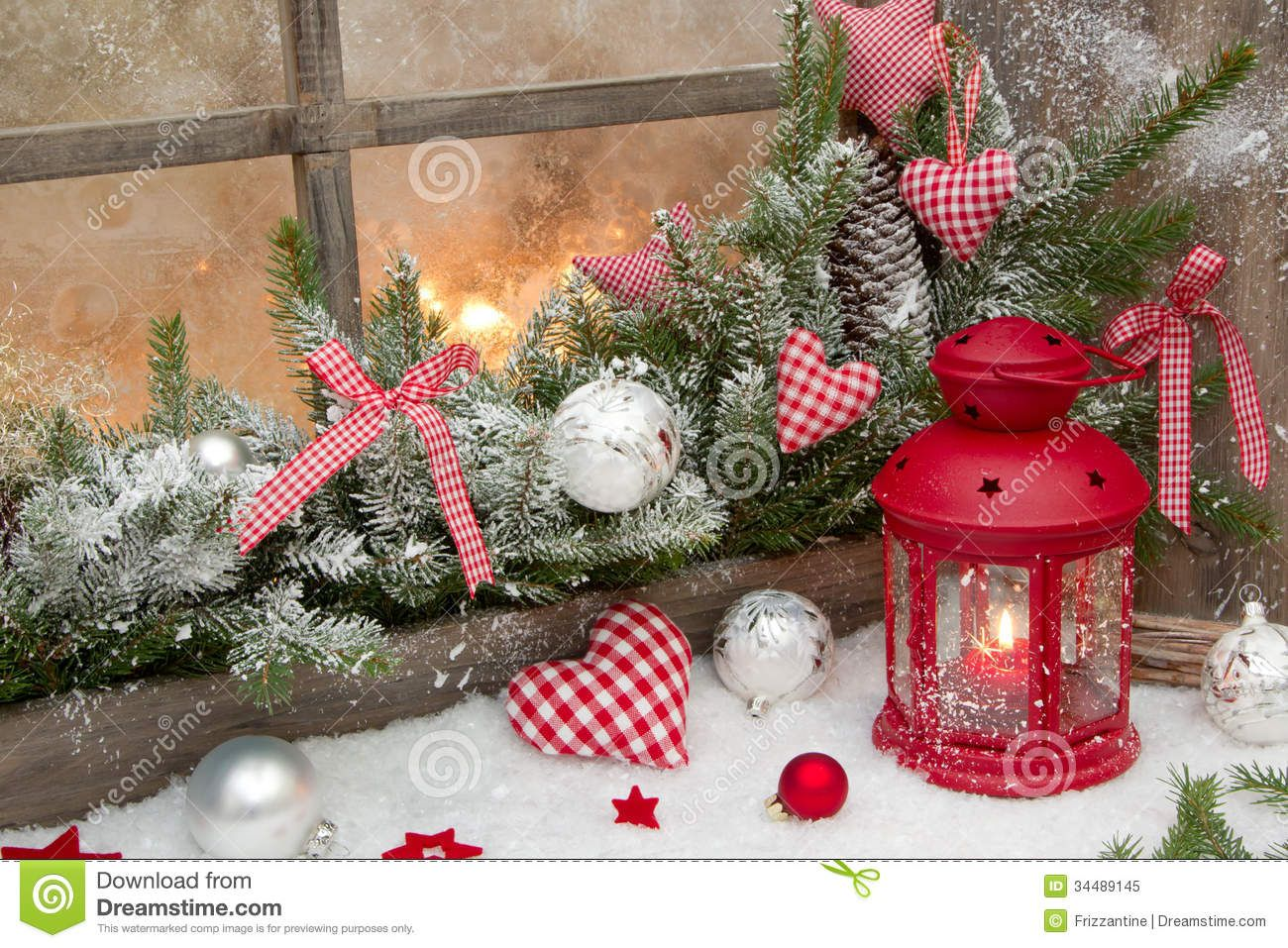 Red Rustic Christmas Decoration On