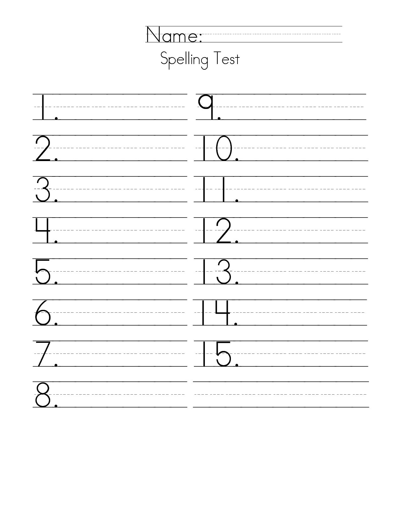 First Grade Spelling Test Paper