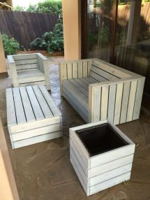 Pallet Wood Patio Furniture Set Rustic